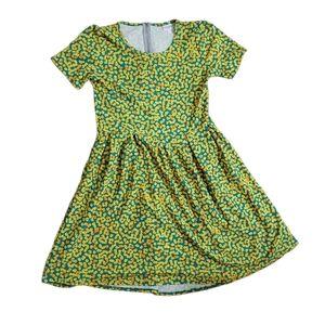 LulaRoe Amelia Yellow Tiny Daisy Dress Sz 2XL Teal